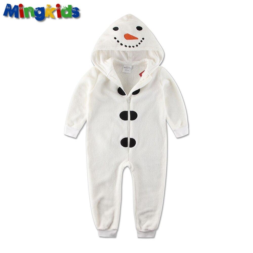 Mingkids Jumpsuits Sleepsuit Pajamas Snowman Costume Cosplay baby boy warm fleece winter pijamas   Rompers   hooded christmas