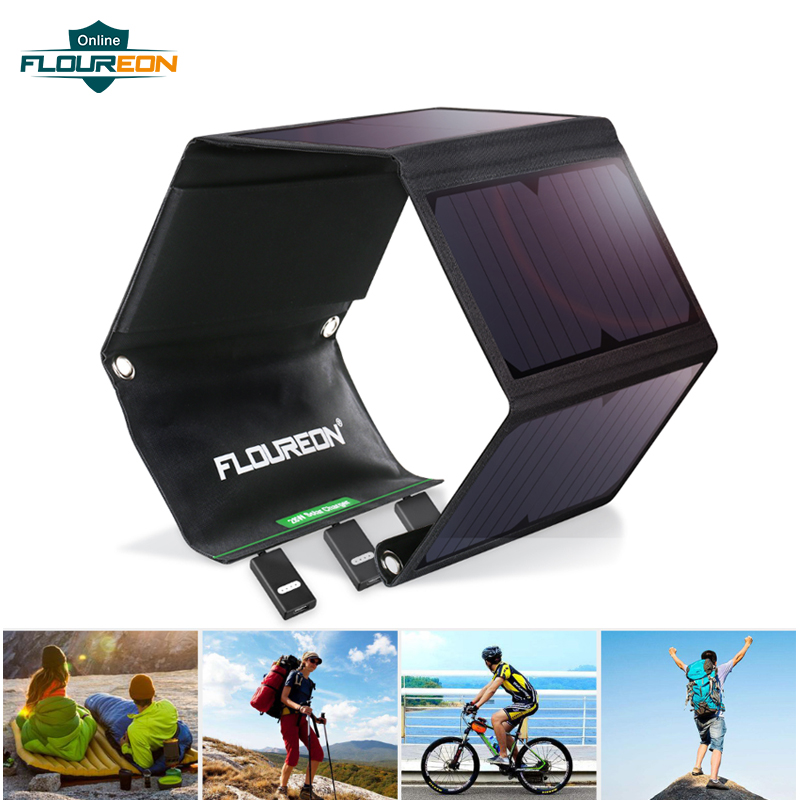 Floureon 15W 28W Solar Panel Waterproof Portable Foldable Solar Charger For IOS Android Phone Power Bank 2/3 USB 5V/2.A Outdoors