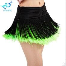 Дамский костюм для латинских танцев, юбка для девочек, платье для сальсы/румбы/самбы/танца живота, костюмы с бахромой для выступлений, с шортами внутри