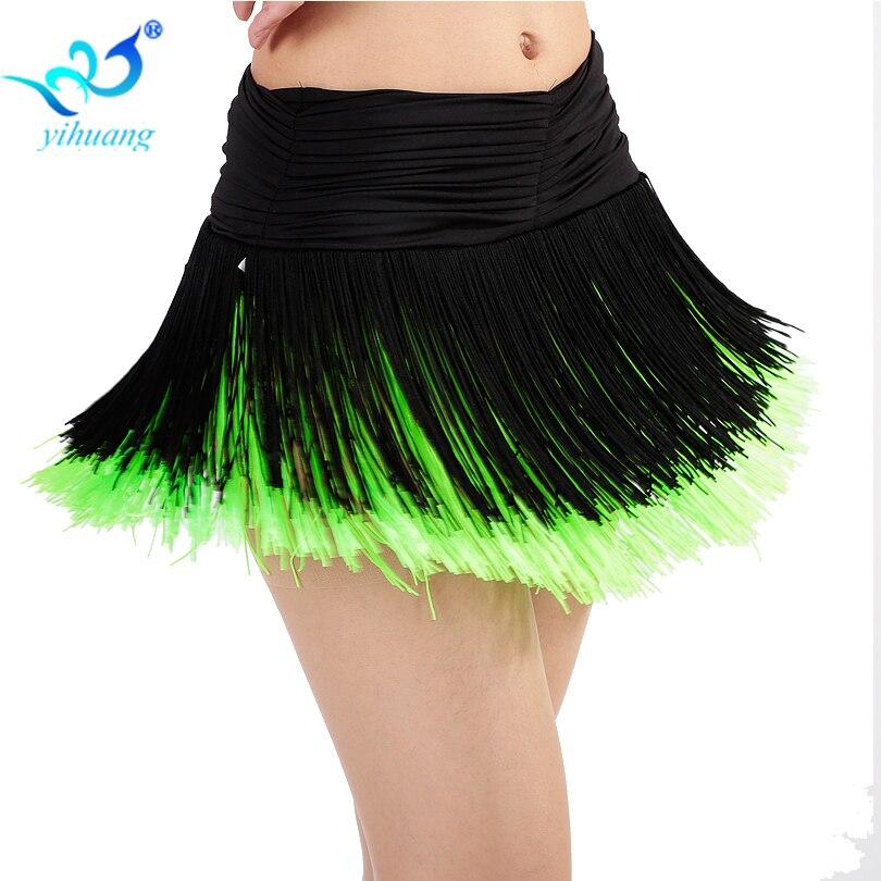 Ladies Latin Dance Costume Skirt Girls Salsa / Rumba / Samba / Belly Dancing Dress Fringe Performance Outfits With Shorts Inside