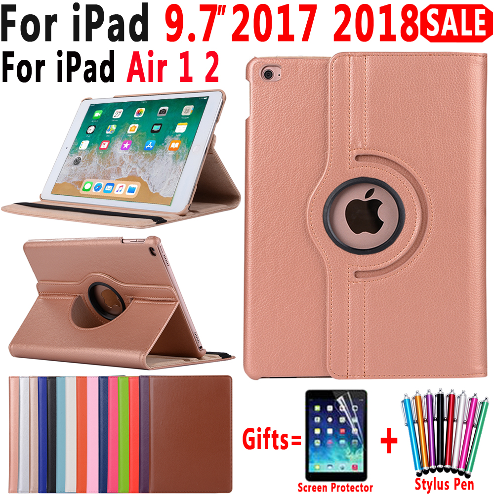 360 Gradi Che Girano Custodia In Pelle Smart Cover per Apple iPad Air 1 Aria 2 5 6 Nuovo iPad 9.7 2017 2018 A1822 A1823 A1893 Coque Funda