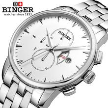 Switzerland men's watch luxury brand Wristwatches BINGER Quartz full stainless male watch steel Superocean Chronograph BG-0404