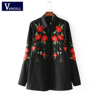Vangull Women Black Blouses Vintage Flower Embroidery Shirts 2018 New Cotton Long Sleeve Turn Down Collar
