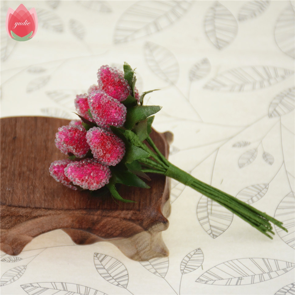 12pcs Artificial Crystal Style Strawberry Flowers Bouquet For