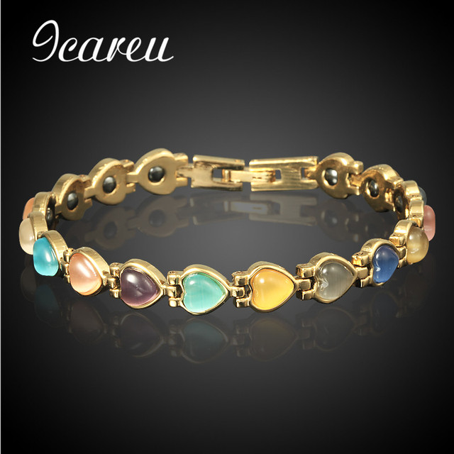Whole Magnetic Stone Health Anti Fatigue Bangles For Women Indian Heart Bracelets Charms Jewelry