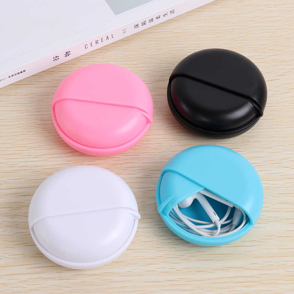 Multi-function Round Shaped All In Order Earphone Case Rotating Storage Jewelry Protective Wire Cable Organizer Data Line Box