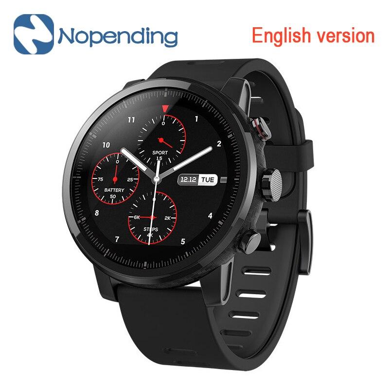 Original NOVO Huami Amazfit Stratos Esportes Relógio Inteligente 2 5ATM Resistente À Água 1.34 'Tela 2.5D GPS Firstbeat Natação Smartwatch
