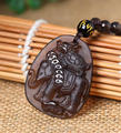 Beautiful Handwork Natural Ice Clear Obsidian Carved Chinese Elephant Turtle Lucky Amulet Pendant + Necklace Fine Jade Jewelry