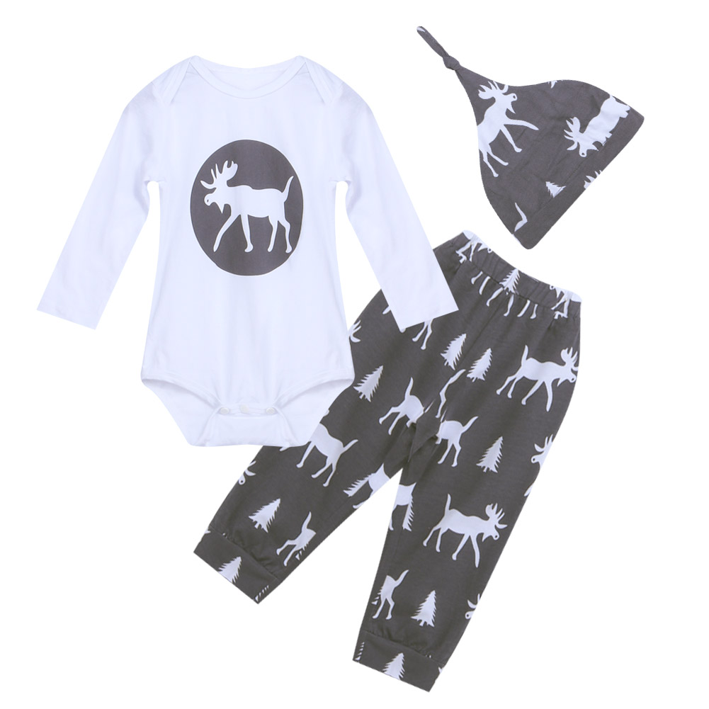 Christmas Kid Clothing Baby Boy Girl Reindeer Romper Tops +Long Pants + Hat 3PCS Outfits Newborn Spring Autumn Clothes AO#P