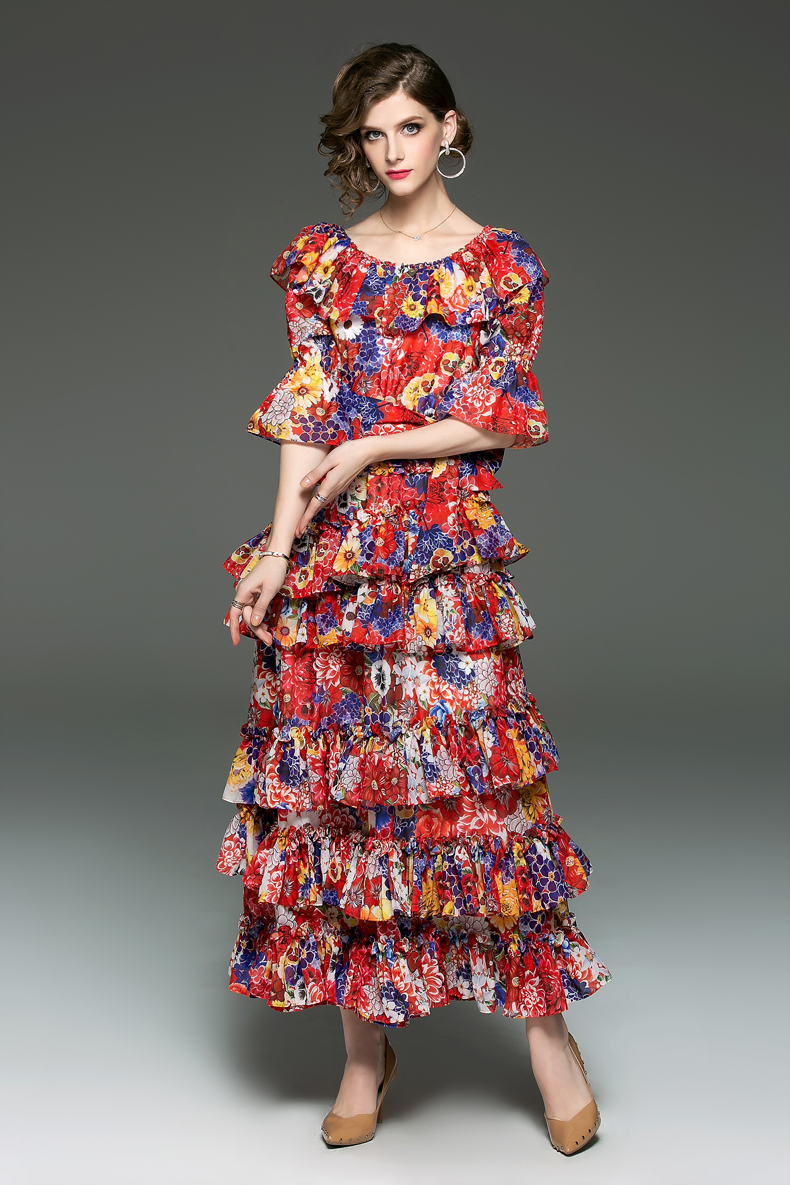 Vrouwen Runway Designer Jurken Slash Hals Tierred Ruches Bloemen Gedrukt Sash Belt Fashion Casual Vakantie Jurken-in Jurken van Dames Kleding op  Groep 2