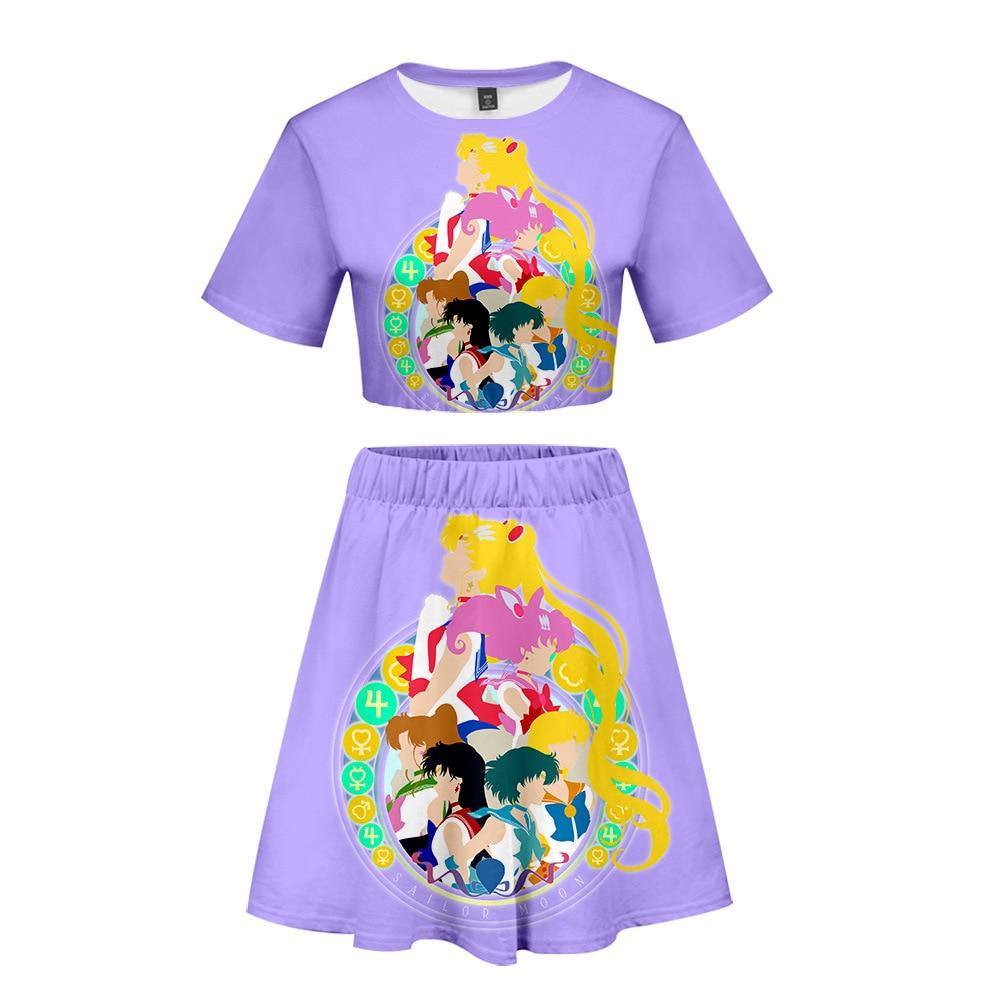 Sailor Moon Women Outfits 2 Piece Set Women Outfit 3D Print T Shirt Women 39 s Suit Mini Skirt Summer Top Ensemble Femme in Women 39 s Sets from Women 39 s Clothing