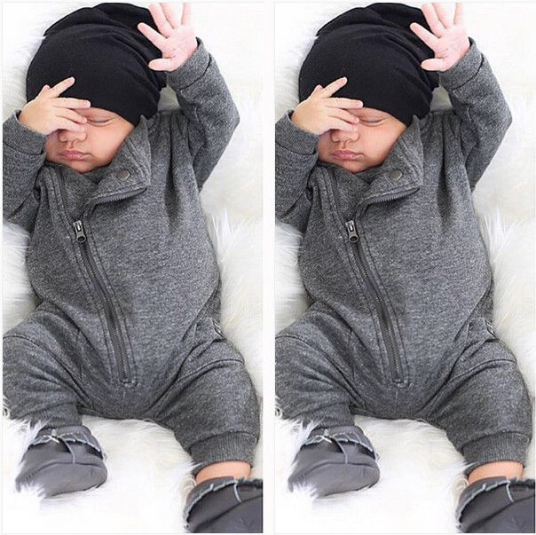 03ca0a0e0cfc New Baby Boys Autumn Winter Romper Toddler Infant Baby Boys Zip Up ...