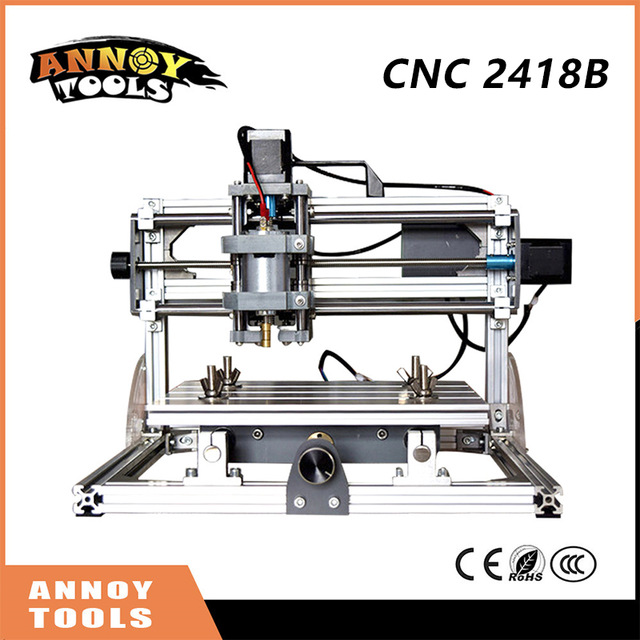 New CNC 2418B GRBL DIY control laser engraving machine, 3 axis PCB milling machine, wooden engraving machine2500W cnc 5axis a aixs rotary axis t chuck type for cnc router cnc milling machine best quality