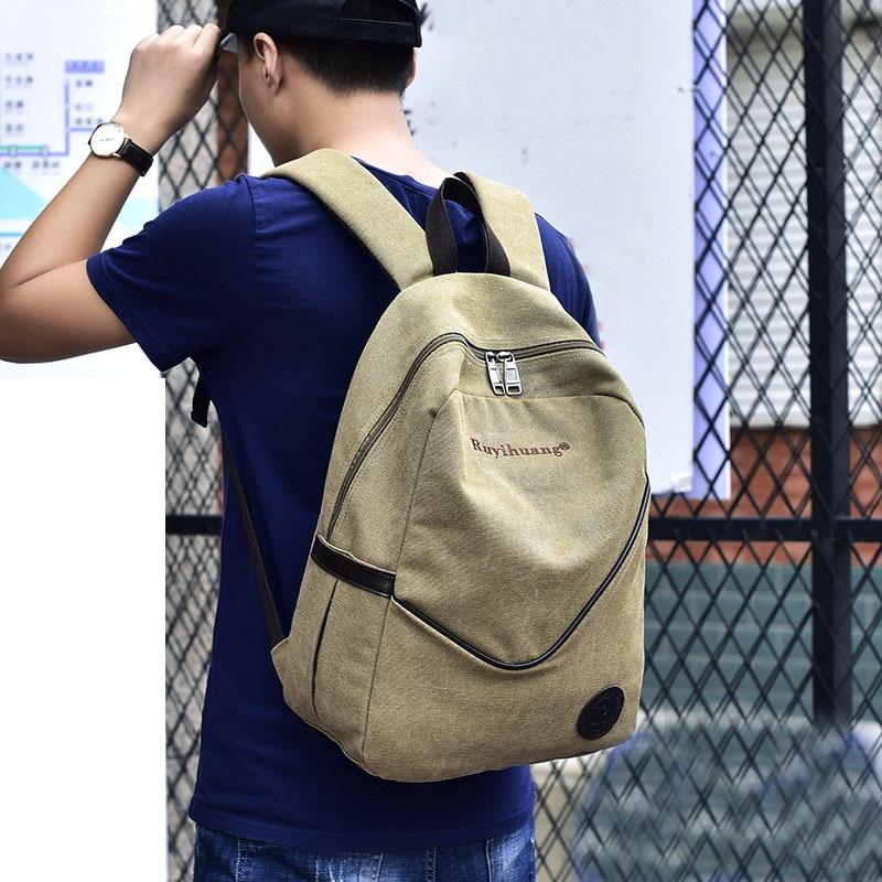 Han Edition Tide Men Shoulder Bag Canvas Bag Students Travel Bag Backpack Backpack Female 30oz
