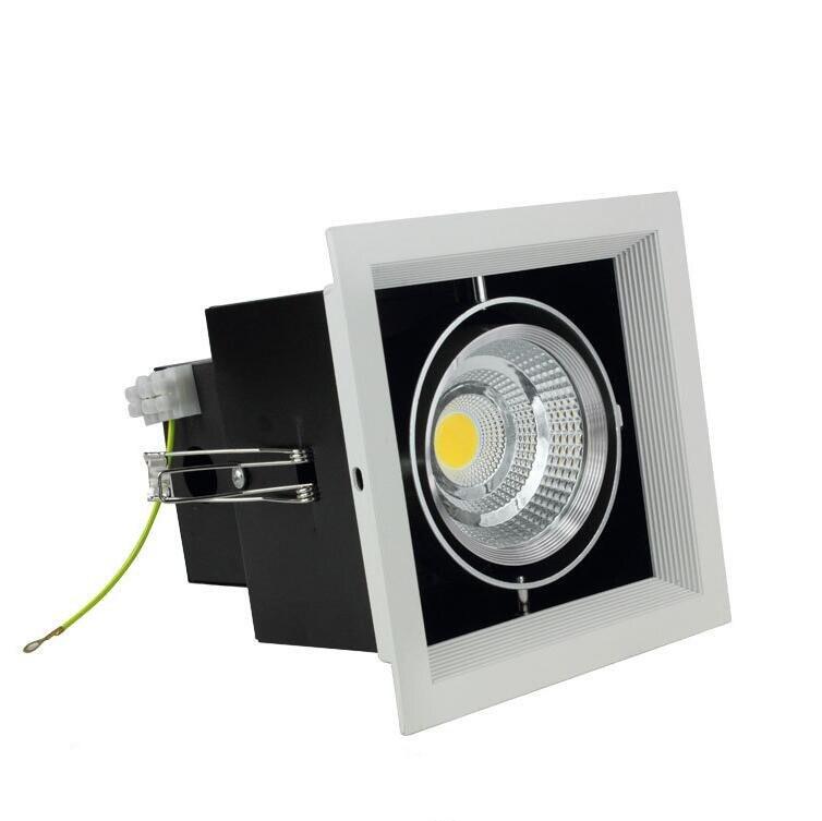 Vente directe d'usine Dimmable 15 W chaud blanc froid carré COB led vers le bas lumière COB led pot de haricot lampe COB gril led lampe AC85-265V