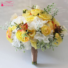 Bright Yellow Wedding Flowers Bridal Bouquet Country style Fashion Hand Flowers for Bridesmaid ZBH019
