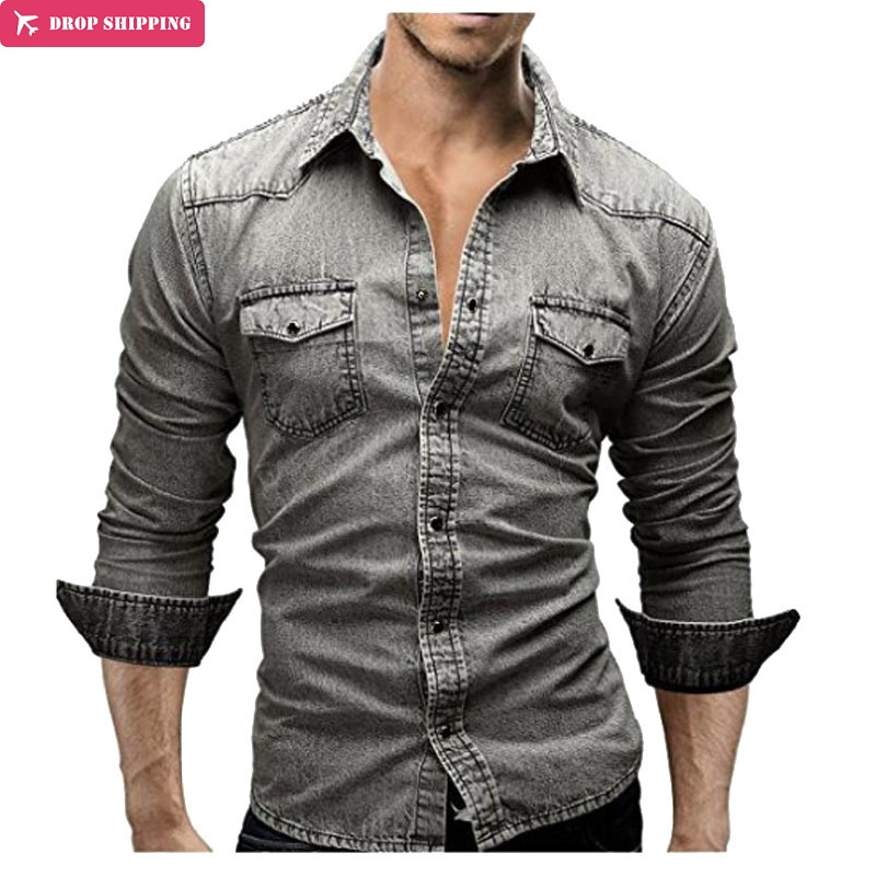 Men Shirt Brand 2018 Retro Style Male Long Sleeve Shirts Casual Solid Color Denim Slim Fit Dress Shirts Mens 3XL