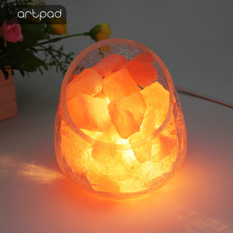Artpad Crystal Himalayan Salt Light Fashionable Decoration Bedroom Beside usb Led Night Light Glass Warm Table Lamp