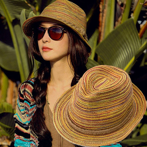 09WGWomen Summer Bohemia Style Straw Hats Foldable Striped Braided Rope Beach Sun Hat