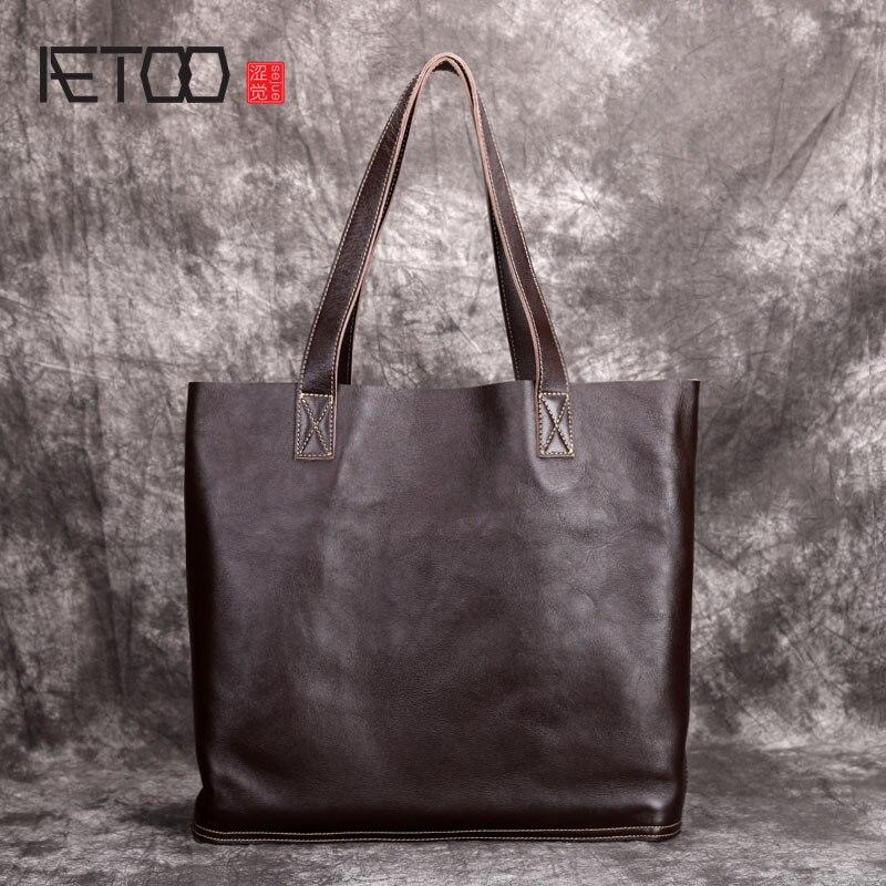 AETOO Original handmade leather hand bag shoulder bag new casual retro big female bag classic wild literary style все цены