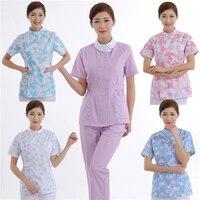 Medical Nursing Scrubs Uniform Woman Floral Printed Summer Hospital Dental Clinic Beauty Salon Work Wear Clothes Pants Set