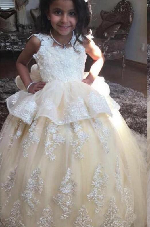 Adorable Champagne   Flower     Girl     Dresses   With Ruffles Appliques Ball Gowns Little Kids Birthday Communion Pageant Gowns