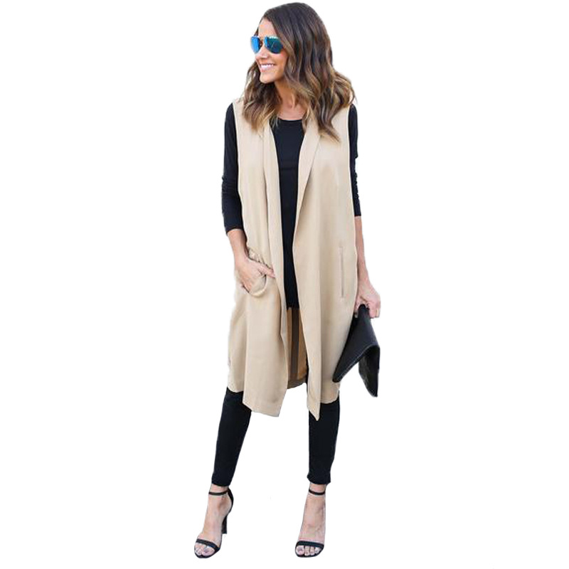 2018 Women's Summer Solid Open Stitch Turn Down Collar Sleeveless Bandage Cotton Slim   Trench   Coat Female Loose Long Windbreaker