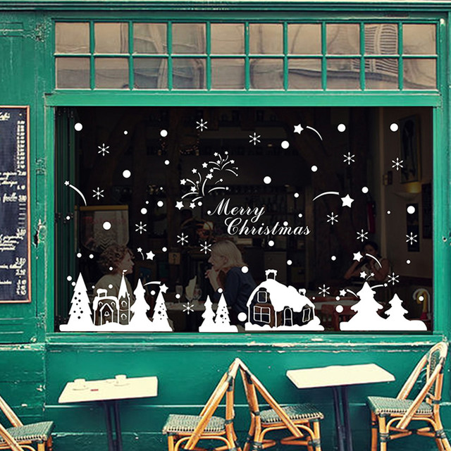 christmas decorations for home christmas window sticker christmas shop window decoration wall stickers christmas snowflakes town