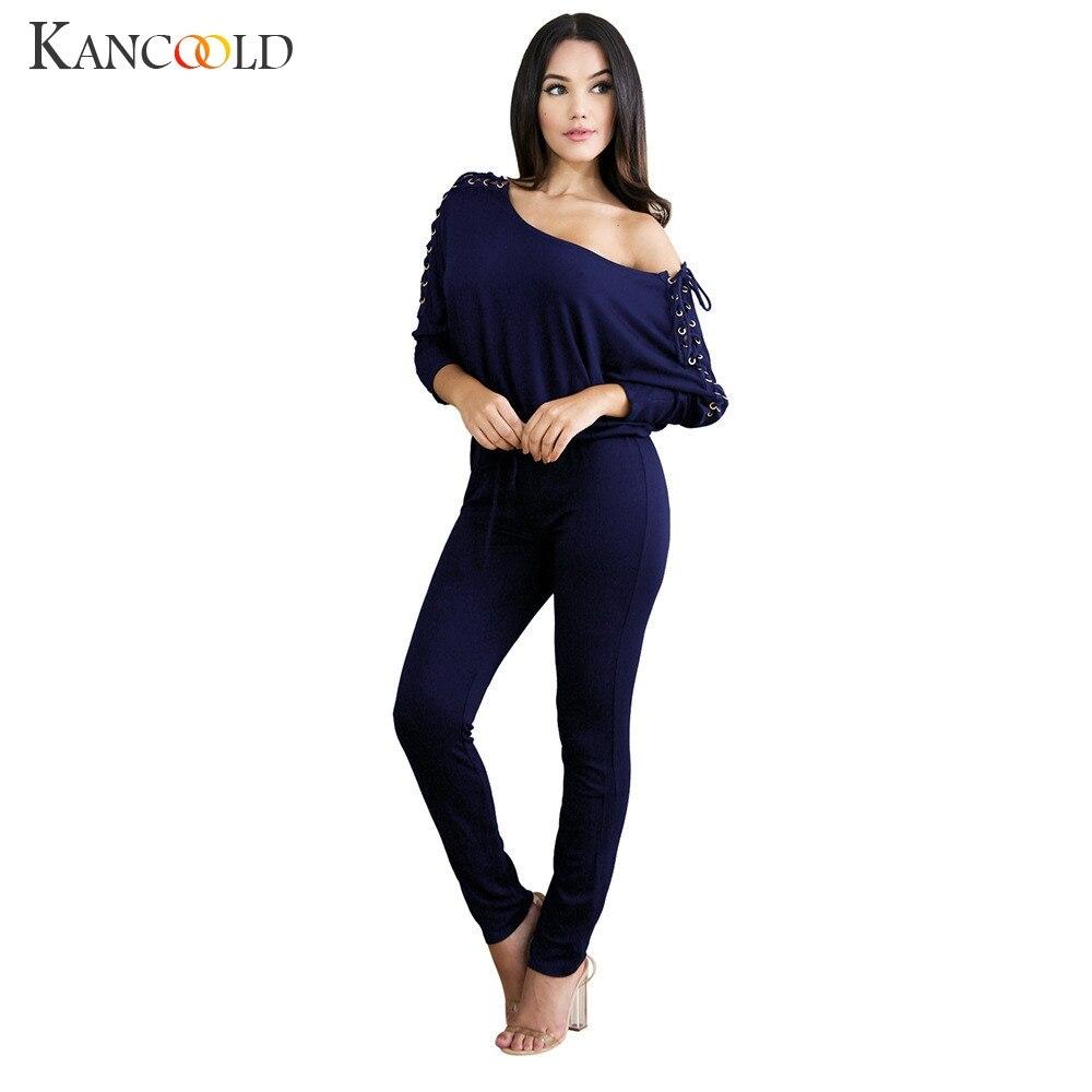 KANCOOLD Jumpsuit Sexy Overalls Long Sleeve Casual Rompers Off Shoulder Hollow Straps Jumpsuits jumpsuit plus size dec14