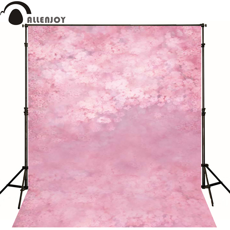 Allenjoy Photographic background Pink peach flower painting newborn vinyl backdrops photography custom wall floor