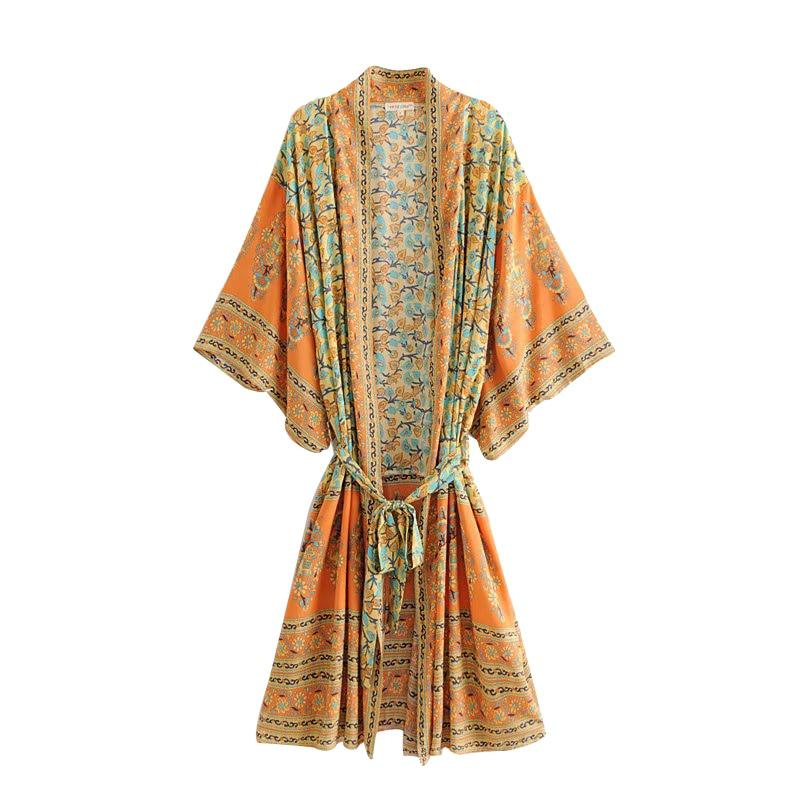 04805a9a4c7c Gitano bohemio Chic verano playa Vintage estampado Floral fajas largo  Kimono Mujer moda cárdigan ...