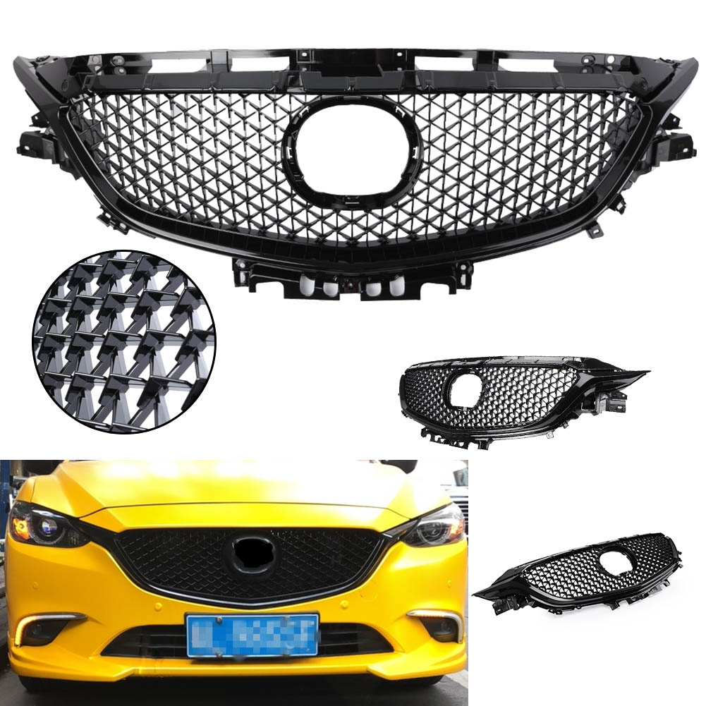 New Front Bumper Grill Upper Grille For Mazda 6 Atenza 2017 2018 Black ABS Plastic Car Styling Accessories