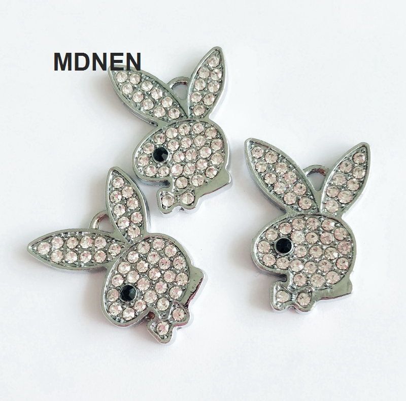 MDNEN 5pcs Full Rhinestone Rabbit Head Hang Pendants Beads