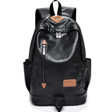 2017 New Famous Brand Preppy Style Leather School Backpack Bag For College Simple Design Men Casual Daypacks mochila male sain