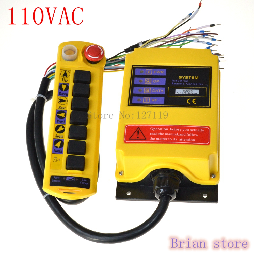 110VAC 1 Speed 1 Transmitter 7 Channel Control Hoist Crane Radio Remote Control System Controller niorfnio portable 0 6w fm transmitter mp3 broadcast radio transmitter for car meeting tour guide y4409b