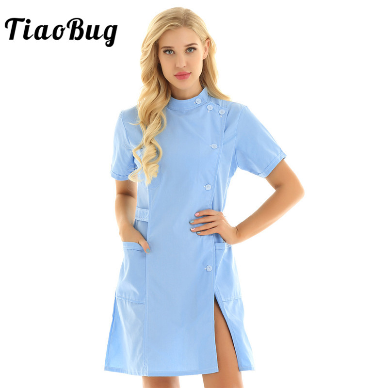 TiaoBug Women Short Sleeves Solid Color Hospital Doctor Uniform Scrub Tops Medical Services Lab Coat Adult Nurse Dress Costume image