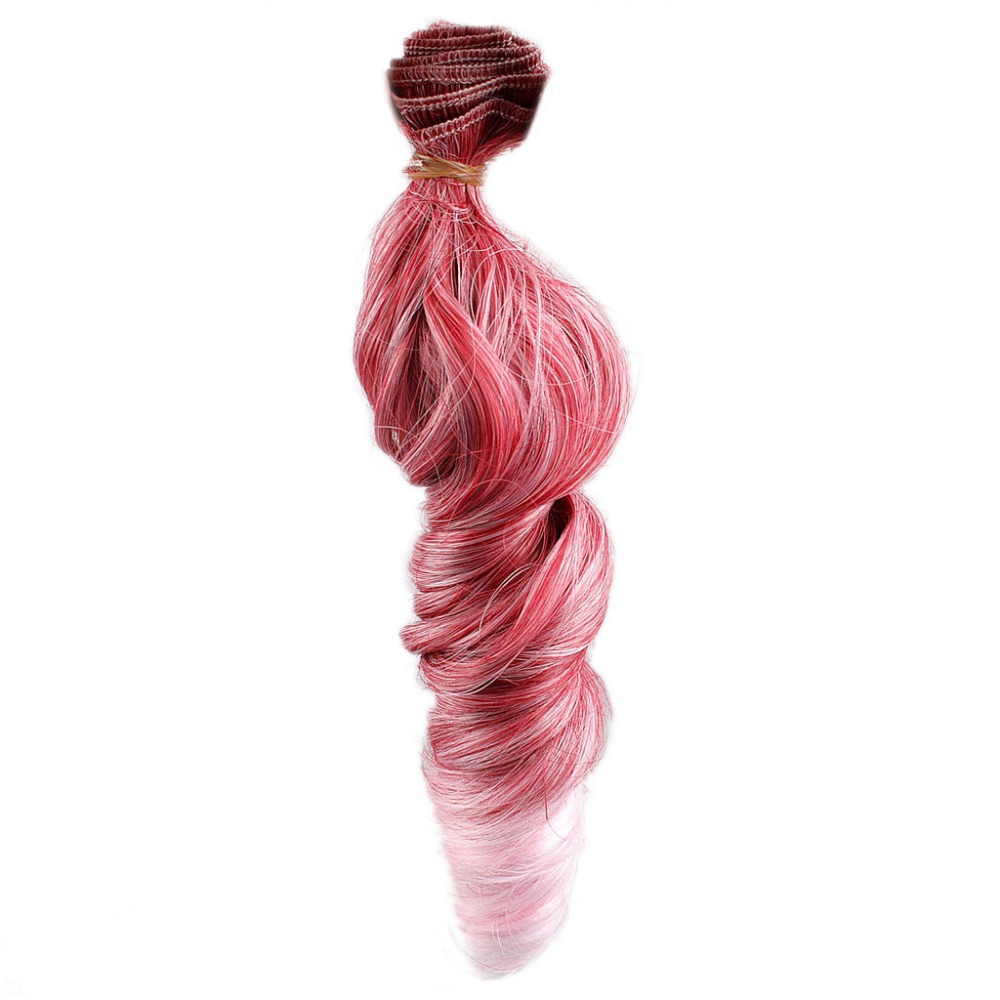 wamami Red Pink Hair Extension Piece DIY Wavy Hair Curly Wig For BJD Dollfie