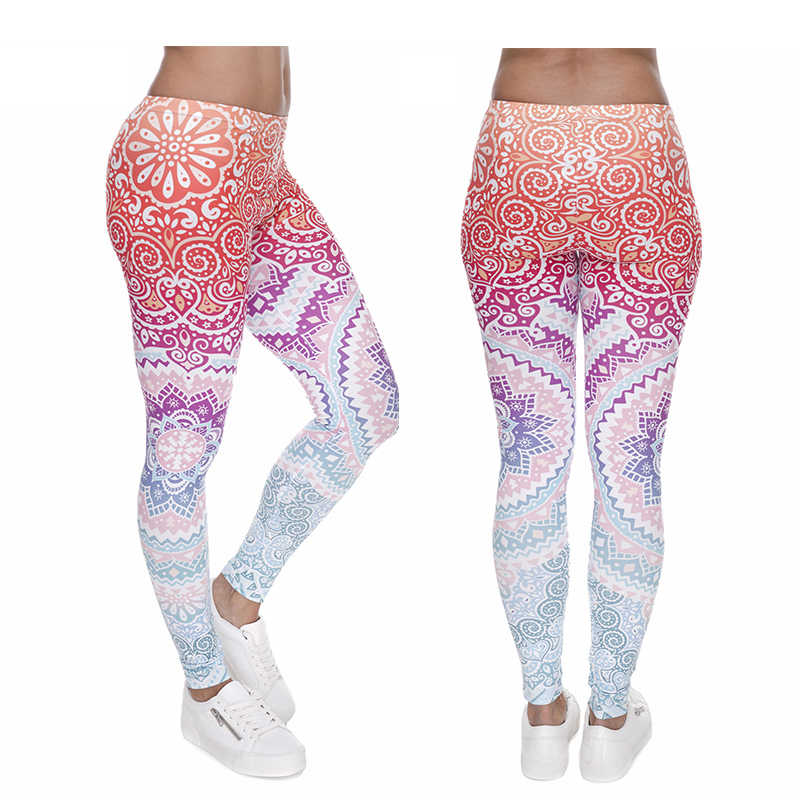 Brands Women Fashion Legging Aztec Round Ombre Printing Leggins Slim High Waist Running Leggings Woman Sport Pants