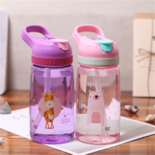 450ml Summer Lovely Animal Kids Plastic Water Bottle With Straw Leak Proof Eco-Friendly Portable Travel My