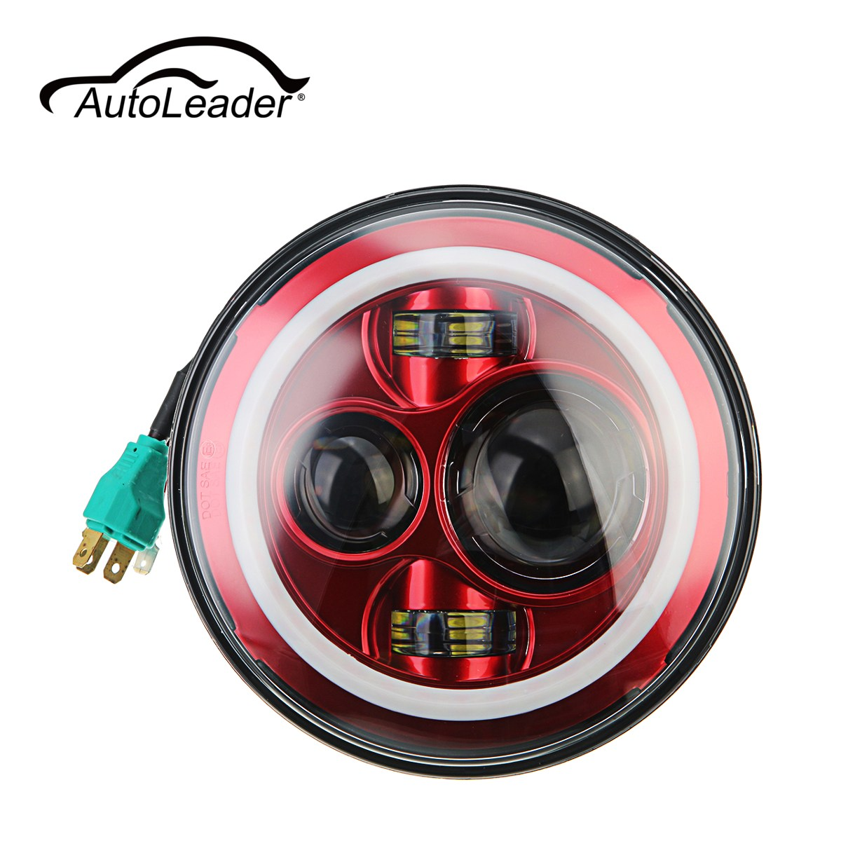 Autoleader 7 Inch LED 6000K Hi-Lo Beam Headlight Round Halo Angle Eyes Red/White For Wrangler/JEEP H4 Connector H13 Adapter 1pcs 5 75 inch led motorcycle projector daymakers 5 75 inch headlight for harleys dyan h4 hi lo beam lights lamp bulb angle eye