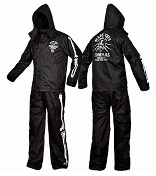 Skull motorcycle rain suit black motorbike rain gear Pole moto ...