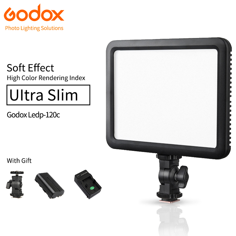 Godox Ultra Slim LED Video Light Ledp120C with Lithium battery Photographic Lamp 3300K~5600K for Nikon Canon Camera DVR godox professional led video light