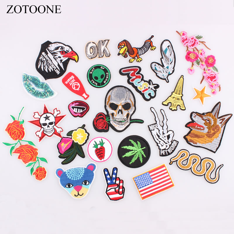 ZOTOONE Snake Letter Skull Flower Animal Patches for Clothing Stripes on Clothes Iron on Patches Embroidery Patch DIY Applique F 600rr anahtarlık