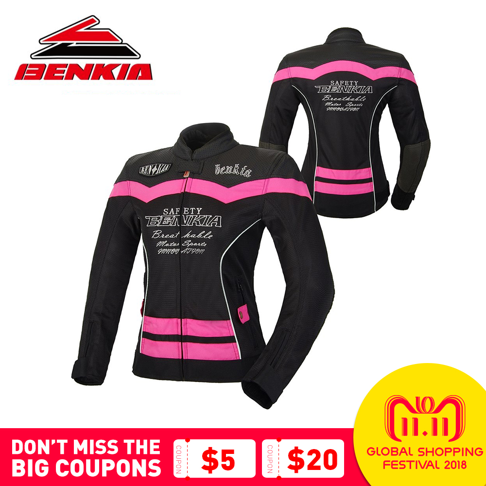 BENKIA Motorcycle Jacket Summer Mesh Breathable Jacket Motorcycle Racing Suit Ventilation Riding Moto Jacket Women JS-W55