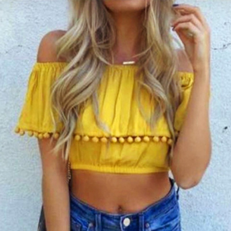 Slash Neck Summer Solid Color Crop Tops Yellow Boho Beach Blouse