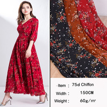 On Sale Dress Fabric Print Chiffon Soft Silky DIY Sewing Lovely Breathable Qualified 1 Meter