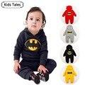 SR022 Free shipping 2017 new batman top quality baby rompers boy newborn baby clothes breaking warm winter children hoodies