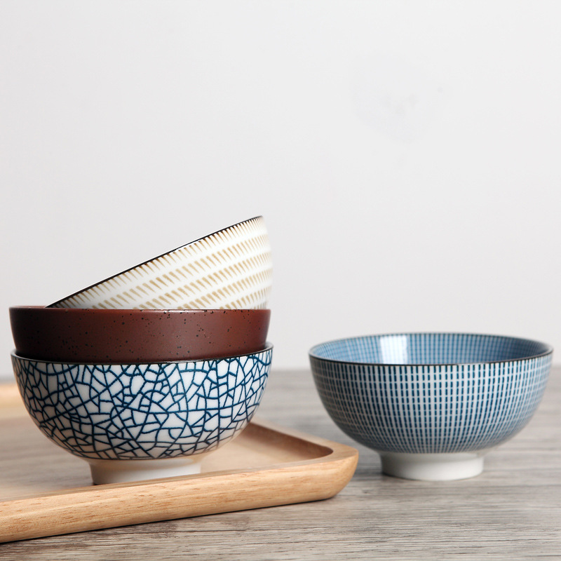 Set of 4 Japanese Traditional Style Ceramic Dinner Bowls Porcelain Rice Bowls Dinnerware Set Best Gift 4.5inch