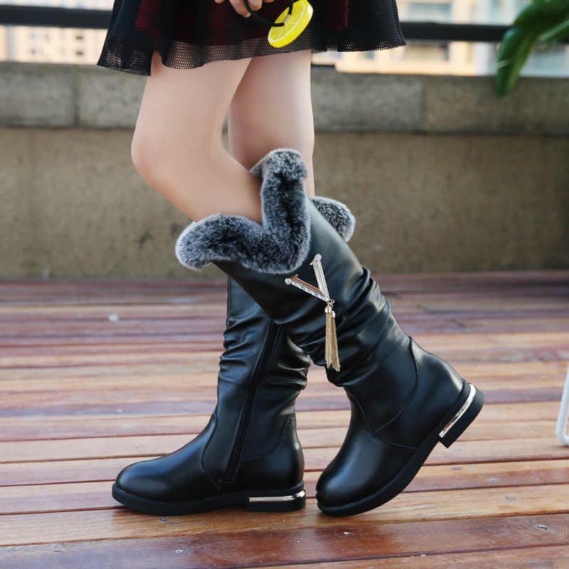 รองเท้าเด็กหญิงของแท้รองเท้าหนังฤดูหนาวแฟชั่นเข่า - สูง martin boots plus กำมะหยี่อบอุ่นขนสัตว์กระต่ายเด็กเจ้าหญิงรองเท้า