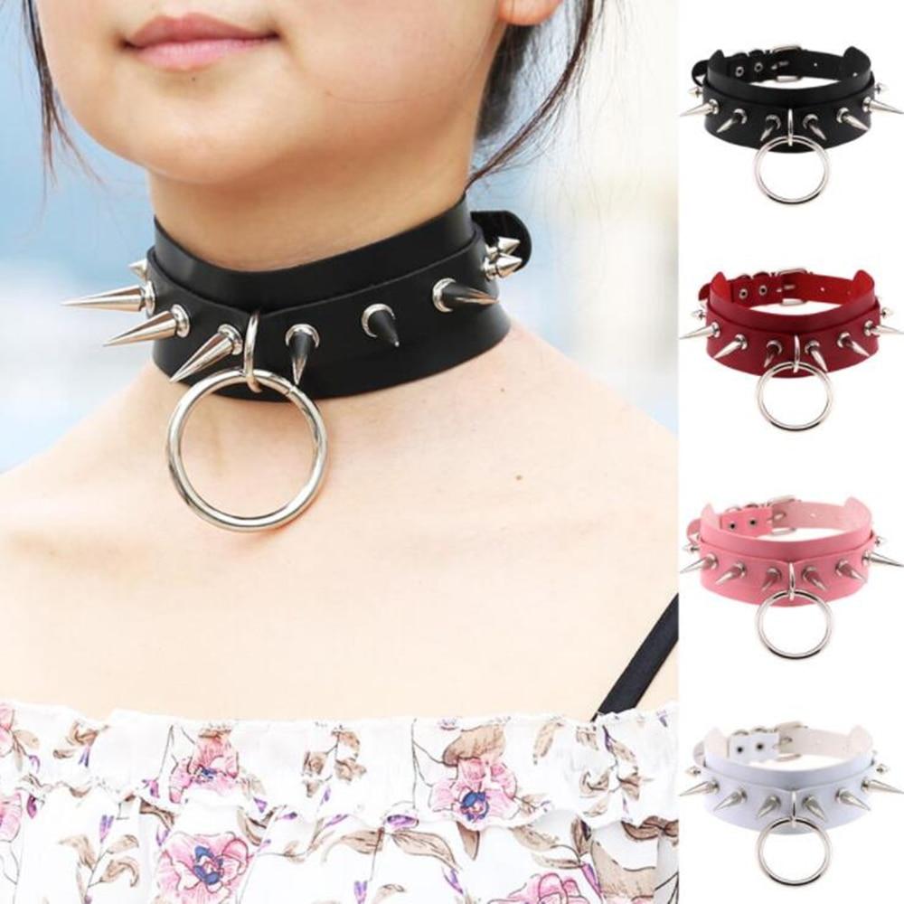Harajuku Women Men Cool Oversized O Round Choker Rivet Sharp Nail Leather Bondage Collar Unisex Necklace Free Shipping